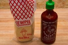 Spicy Mayo Recipe - 2 ingredients: 1 Tbs Kewpie Mayo and 1 tsp hot chilli sauce