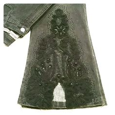 """Decoded Lace & Jewel Jeans Sz 11 Trendsetters HP These stunning black jeans by Decoded have see-through floral lace detailing on the front of the legs from the knee down with intact intricate bead and jewel accents and an open V at the hem.  A real show stopper for a night out, these will pair great with heels and a feminine top.  The lace is dark black and the jeans are a barely faded black.  31"""" inseam. In great condition, no wear on hem, from my smoke free home. See comments for…"""
