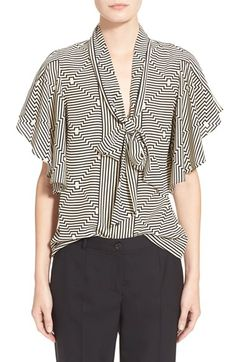 Tracy Reese Flounced Tie Neck Print Silk Blouse available at #Nordstrom