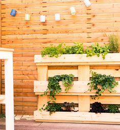 Pflanzregal Grünlich build yourself pallet furniture Herb Garden Pallet, Diy Herb Garden, Pallets Garden, Indoor Garden, Diy Garden Furniture, Balcony Furniture, Diy Pallet Furniture, River Rock Landscaping, Landscaping With Rocks