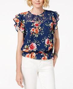Monteau Petite Flutter-Sleeve Top - Blue P/ Blouse Styles, Blouse Designs, Flutter Sleeve Top, Dressy Tops, Floral Fashion, Plus Size Activewear, Dresses With Leggings, Trendy Plus Size, Dress Patterns