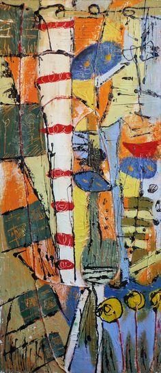 senza titolo - acrilico, smalto, stucco su tavola - 70x30 - 2006
