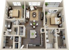 three bedroom flat layouts - Google Search