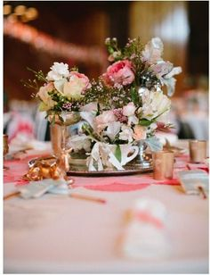 Eclectic Centerpieces with Gold Painted Animal Figurines