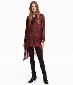 Blusa larga de gasa | Rojo oscuro | Mujer | H&M MX