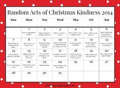 Random Acts of Christmas Kindness Printable Advent Calendar