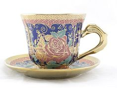 Ambilight Porcelain 6-ounce Coffee Cup and Saucer Blue Chintz with Gold Trim,set of 1,Blue,E2(1),outstanding decorative cups