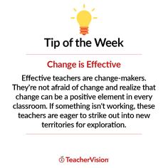 TeacherVision Teaching Tip of the Week: Change is Effective | TeacherVision.com