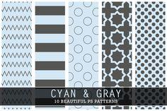 I just released Cyan and Gray on Creative Market... #cyan #gray #photoshhoppattern #stylish #modern #stripes #dots #polkadots #chevron #zigzags #damask