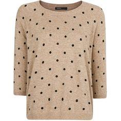 Mango Polka Dot Jumper (35 CAD) ❤ liked on Polyvore featuring tops, sweaters, shirts, jumper, raglan shirts, polka dot sweater, beige long sleeve shirt, 3/4 length sleeve shirts and long sleeve shirts