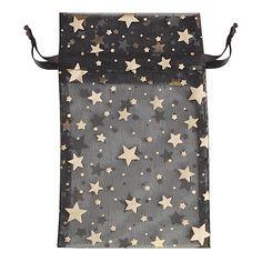 Black Organza Drawstring Pouch with Star Pattern 5