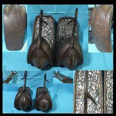 Japanese Samurai Abumi Stirrups Raden Mother of Pearl Inlay Horse Shoe Armor Art | eBay