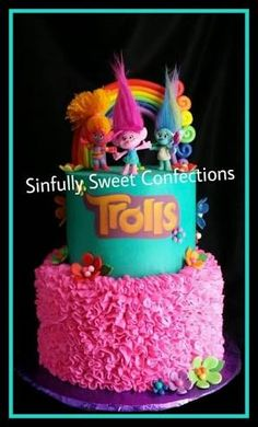 Best 25 Trolls Birthday Party Ideas Cake On Trolls Birthday Party, Troll Party, 6th Birthday Parties, Birthday Bash, Birthday Ideas, Cupcakes, Cupcake Cakes, Bolo Artificial, Walt Disney