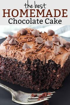 This is the best Homemade Chocolate Cake Recipe ever! Moist, rich, chocolate cake is topped with a luscious chocolate buttercream icing and is to die for! Chocolate Cake Recipe 9x13, Best Homemade Chocolate Cake Recipe, Buttermilk Chocolate Cake, Chocolate Cake From Scratch, Cake Recipes From Scratch, Best Chocolate Cake, Homemade Cake Recipes, Delicious Chocolate, Chocolate Recipes