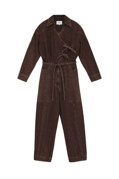 Unlike any other jumpsuit, the Naki jumpsuit elevates your look with warm and sizzling tones of espresso colored denim. With a straight leg fit, oversized western-inspired pockets, a wrap-around tie-waist, and a wrap and tied from addition, the Naki jumpsuit is perfectly capable to dress up with a pair of kitten heels, or casually with mules. Boiler Suit, Colored Denim, Kitten Heels, Dress Up, Jumpsuit, Tie, My Style, Coat, Espresso