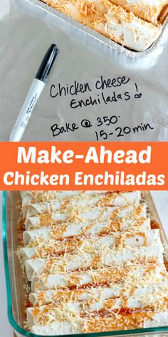 Make-Ahead Chicken Enchiladas for Dinner! Something the whole family will love. And you can make them ahead of time to bake up when you're ready. Perfect for a freezer meal! dinner meals Easy Make-Ahead Chicken Enchiladas Recipe Freezable Meals, Make Ahead Freezer Meals, Freezer Cooking, Cooking Recipes, Chicken Freezer Meals, Cooking Ideas, Freezer Recipes, Meals To Make With Chicken, Make Ahead Casseroles