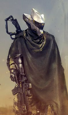 Then, See You Tomorrow by synthesys robot soldier cyberpunk gun rifle cloak armor clothes clothing fashion player character npc Armor Concept, Concept Art, Character Concept, Character Art, Cyberpunk Kunst, Arte Robot, Futuristic Armour, Sci Fi Armor, Future Soldier