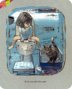 Woken up first!, text and illustrations by Komako Sakai, published in 2013 by the École des loisirs Art And Illustration, Illustration Mignonne, Illustrations And Posters, Draw Disney, Art Mignon, Cat Art, Illustrators, Art Drawings, Wallpaper