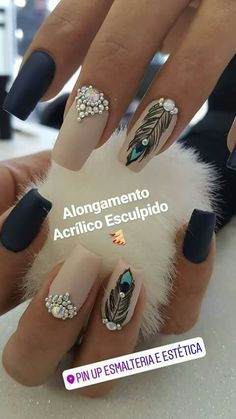 10 Gorgeous Black Nail Designs With Diamonds for 2019 : Check it out! - 10 Gorgeous Black Nail Designs With Diamonds for 2019 : Check it out! Fabulous Nails, Perfect Nails, Gorgeous Nails, Love Nails, My Nails, Dark Nails, Diamond Nail Designs, Black Nail Designs, Diamond Nails