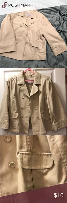 Denim-like Jacket Khaki Denim-like jacket. Only worn a few times. Great with a pair of jeans! Old Navy Jackets & Coats