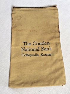 Condon National Bank Vintage Zippered Canvas Bank Bag Coffeeville Kansas