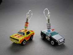 Police Vs Sports Car- 1990s Micro Machines Earrings with Sterling Silver