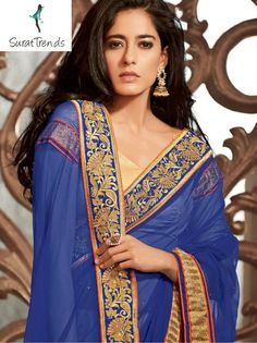 BLUE AND GOLDEN DESIGNER #SAREE Fabric: #Georgette Code:SMR1311