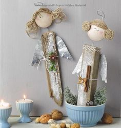 Silver Christmas Decorations, Christmas Angels, Rustic Christmas, Christmas Art, Angel Crafts, Decor Crafts, Diy And Crafts, Christmas Crafts, Christmas Ornaments
