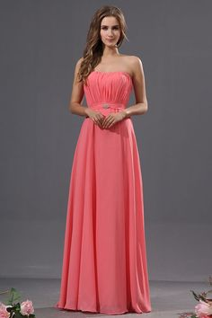 Elegant Strapless Long Length Ruched Chiffon Watermelon Bridesmaid Dress