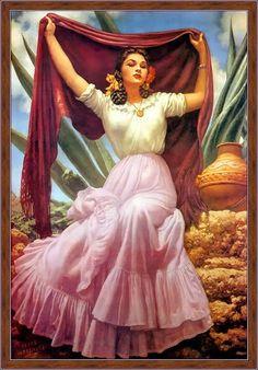Retro Mexico: Jesus Helguera Mexican artist (remember the Frida Kahlo photo pose copying this? Mexican Artwork, Mexican Paintings, Mexican Folk Art, Mexican Heritage, Mexican Style, Mexican Outfit, Jorge Gonzalez, Arte Latina, Hispanic Art