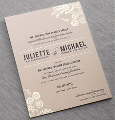Floral features on this new Stinson wedding invitation from Dauphine Press bring in foil accents to add a little pizazz. Customize yours with Paper Passionista.