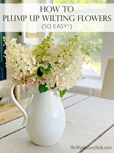 Here is an easy way to bring your wilted flowers back to life - it works really well for hydrangeas! Thrifty Decor Chick Wilted Flowers, Thrifty Decor Chick, Outdoor Projects, Outdoor Ideas, Bunch Of Flowers, Do It Yourself Projects, Outdoor Living, Outdoor Spaces, Hydrangeas