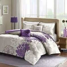 BEAUTIFUL 5PC MODERN FULL/QUEEN PURPLE CHIC FLORAL COMFORTER SET Bed-in-a-Bag  #colormate #Modern