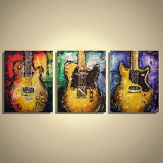 Guitar painting Les Paul Junior Music Wall art Guitar Art Gift for musician Original guitar painting on canvas- triptych