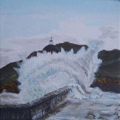 Big wave seaside storm. Canvas Acrylic by MarisaOriginalArt, £20.00