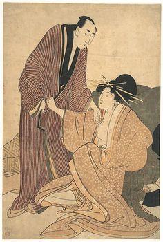 Kitagawa Utamaro (Japanese, 1754–1806). Parting of Lovers: Courtesan and Her Lover, ca. 1800. Edo period (1615-1868). Japan. The Metropolitan Museum of Art, New York. Rogers Fund, 1919 (JP1111)