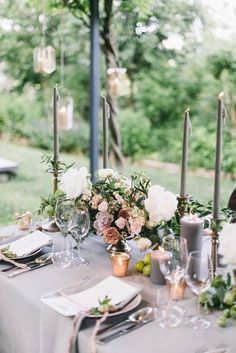 Grey and gold tablescape | Wedding & Party Ideas | 100 Layer Cake