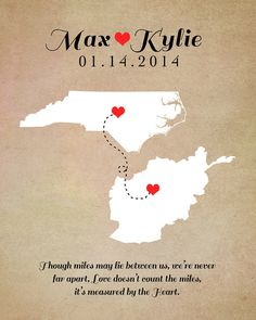 Long Distance Relationship Map Print, 8x10 Custom Art - Two Locations, Deployment, Moving Away, Wedding, Family, Hearts, Connected, Fiance on Etsy, $23.99