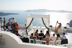 Elegant destination wedding in Santorini, Greece. Santorini Wedding, Greece Wedding, Dana Villas, Wedding Events, Weddings, Great Love, Tie The Knots, Happily Ever After, Marina Bay Sands