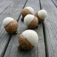 White Wedding Felted Wool Acorns