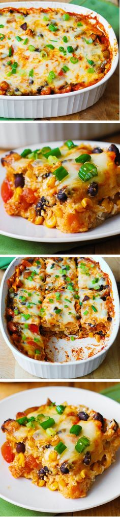Black Bean and Butternut Squash Enchilada Casserole. A delicious super easy to make dinner recipe. If you love Mexican food or Southwestern recipes, you'll love this gluten free dinner. Veggie Dishes, Veggie Recipes, Mexican Food Recipes, Vegetarian Recipes, Cooking Recipes, Healthy Recipes, Cheese Dishes, Bean Recipes, Butternut Squash Enchiladas