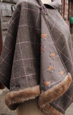 Harris Tweed Pheasant & Faux Fur Wrap