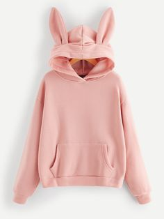 Shop Pocket Front Hooded Sweatshirt With Ears online. SHEIN offers Pocket Front Hooded Sweatshirt With Ears & more to fit your fashionable needs. Girls Fashion Clothes, Teen Fashion, Korean Fashion, Fashion Outfits, Cute Outfits For Kids, Cute Casual Outfits, Stylish Outfits, Stylish Hoodies, Sweaters And Jeans