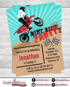 Free printable motorcycle birthday invitations son pinterest dirt bike birthday party invitation professionally printed or diy printable pdf filmwisefo