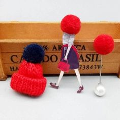 Cute set of 3 pins: girl wearing large winter cap, cap with pompom and pompom pin.Add unique element to your winter outfit! Black Jewelry, Body Jewelry, Jewellery, Thanksgiving Gifts, Winter Trends, Girls Wear, Animal Design, Necklaces, Bracelets