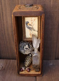 Found Object Art, Found Art, Altered Boxes, Altered Art, Shadow Box Art, Old Sewing Machines, Metal Clock, Thrift Store Crafts, Bird Sculpture