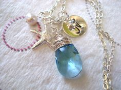Silver Starfish Necklace Pearl Necklace by CharmAccents on Etsy, $25.00