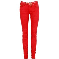 Red Creased Zip Detail Skinny Jeans ($24) ❤ liked on Polyvore