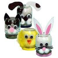 Glazenpotjes...konijntjes/kuikentjes