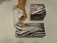 ZEBRA PRINT DOLL Tissues -  For American Girl Dolls or 18 inch Dolls - Handmade Doll Tissue Boxes. $9.99, via Etsy.